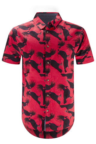 Men Button Rooster Red Button Up