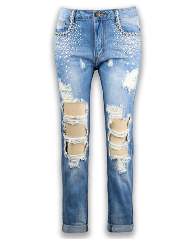 NEW Women Fashion Ripped Blue Jean Distressed Skinny Fit Slim Jean Size 0-11