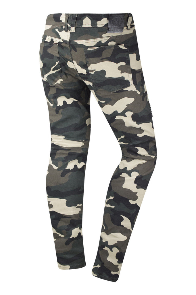 New Men Camo Biker Stretchy Premium Jeans