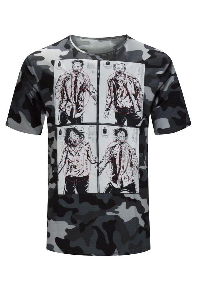 NEW Men Zombie Shirt Walking Zombies Dead Target Shooting Range Size M-2XL