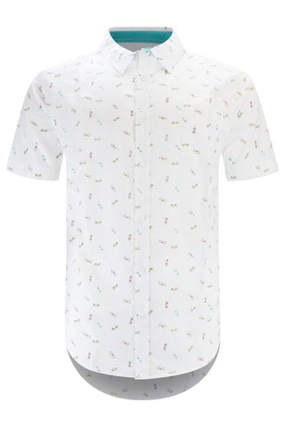 Men Button Up Shirt White Sunglasses Print