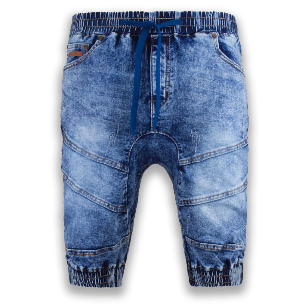 NEW Men Denim Jogger Shorts Jean Elastic Waist