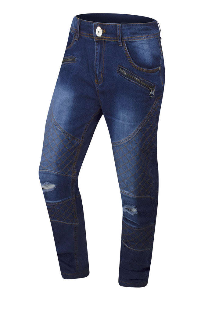 New Men Biker Quilted Denim Jeans