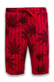 NEW Men French Terry Jogger Shorts Weed Bud Prints Striped Red Black Sizes S-XL