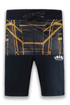 NEW Men Black Fleece Shorts YMCA Gold Drawstrings Elastic Waist Side Pockets