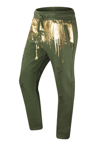 New Men Fleece Paint Splattered Jogger Pants