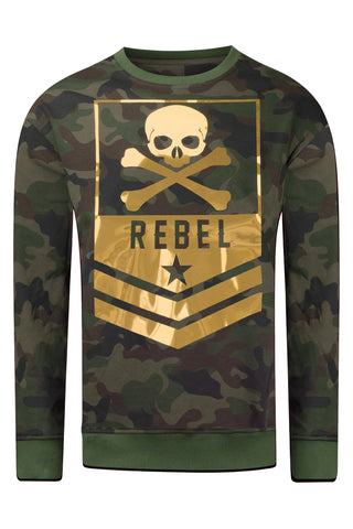 New Men Crewneck Rebel Gold Foil Long Sleeve