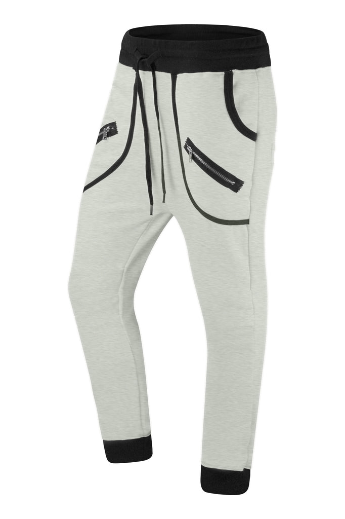 New Men Fleece Joggers Zipper Pockets Pants