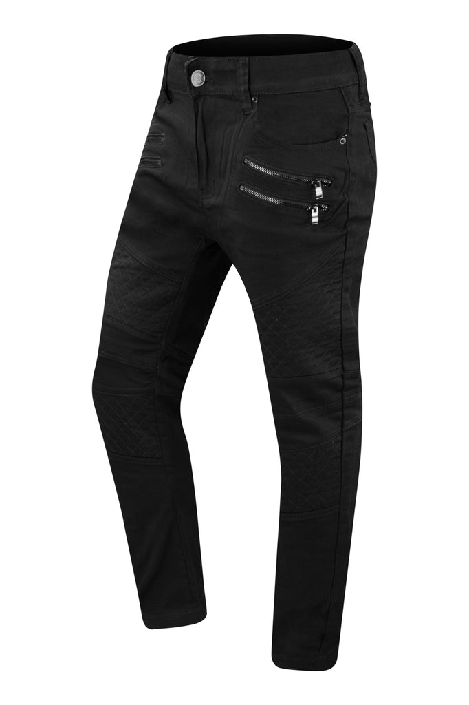 NEW Men Denim Quilted Jeans With Zippers Regular Fit