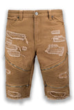 NEW Men Denim beige Khaki Ripped Distressed Shorts Bike Zipper Sizes 30-38