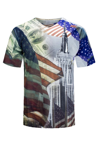 NEW Men Sublimation USA US Shirt New York Statue Of Liberty Size S-2XL V-Neck