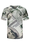 NEW Men Sublimation Cash Shirt Benjamin Franklin Money Hip Hop Sizes S-2XL Vneck