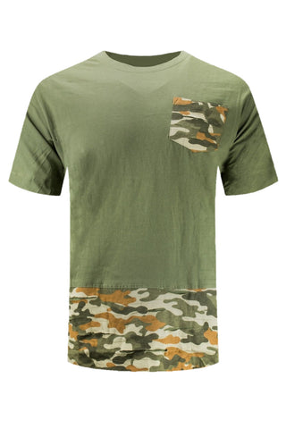 New Men Camo Olive Army Ripped Distressed Shirt Longline Tailed ALL SIZES S-XL
