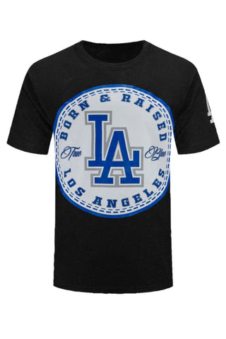 NEW Men LA Born & Raised Blue Los Angeles Baseball Sports Black ALL SIZS M-4XL