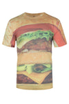 Men Hamburger Shirt Cheeseburger Print Size M L XL 2XL Emoji Lettuce Tomato