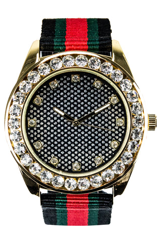 New Gold Iced Watched Face Hip Hop Band