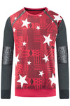 New Men Long Sleeve Red Crewneck Star Print