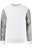 New Men Fleece Long Sleeve Pullover Snakeskin Sleeves