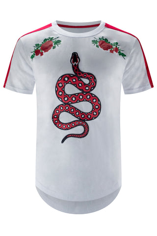 New White Snake Embroidered T-Shirt