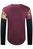 New Men Eagle Gold Foil Long Sleeve Shirt