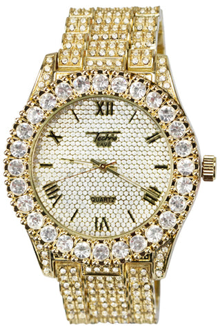 New Gold Full Stone Watch Diamond Large Rocks