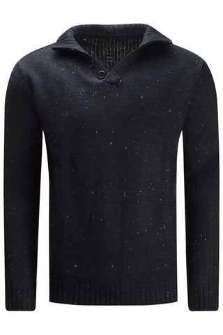 New Henley Black Button Sweater