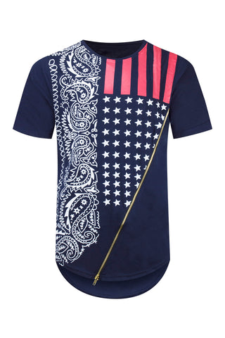 NEW Men Fashion USA Shirt Chest Zipper Bandana Print Stars Men Size S-2XL