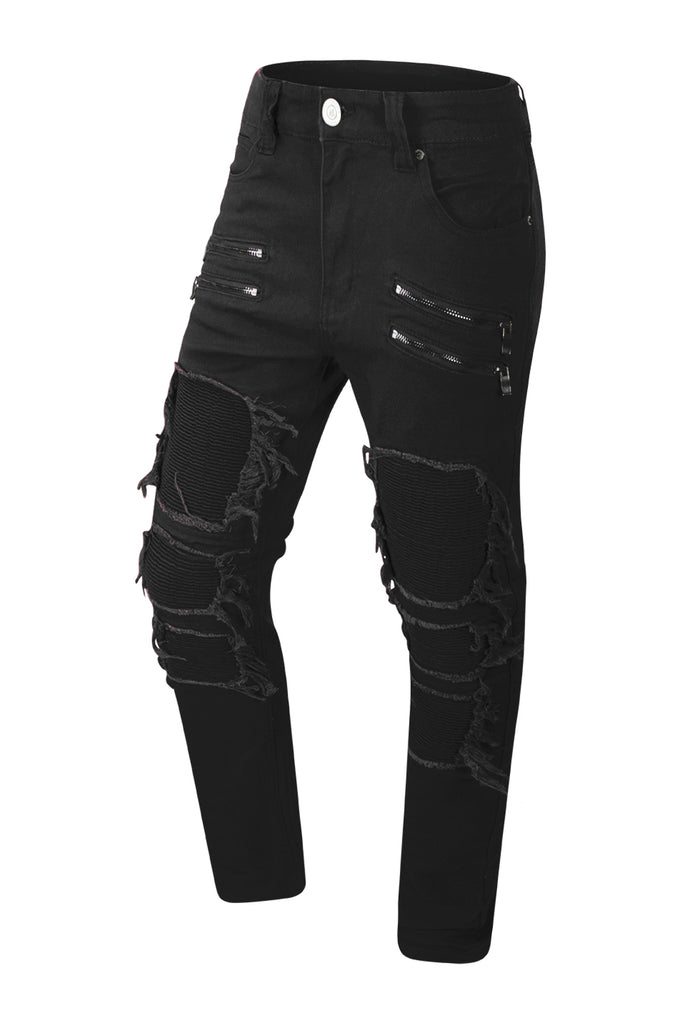 NEW Men Denim Biker Jeans Ripped Distressed Stacked PU Zipper 3 Colors ALL SIZES