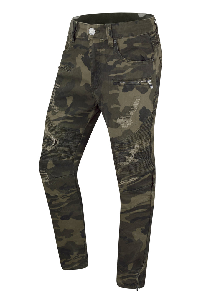 NEW Men Camo Ripped Slim Fit Jeans