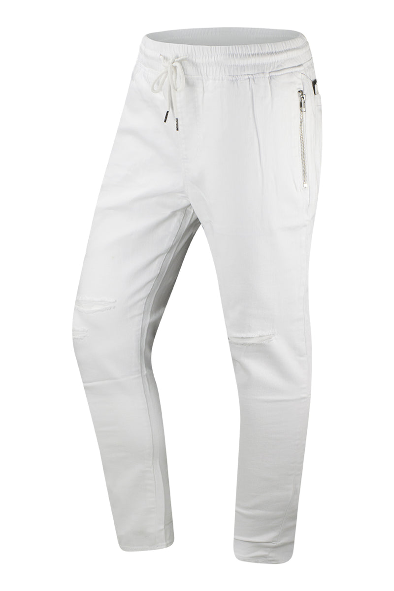 quality design 0c828 622a4 NEW Men White Twill Ripped Joggers Pants Jogger Stretch Elastic Drawstrings