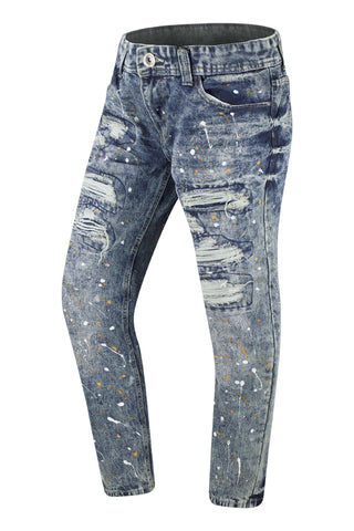 NEW Men Denim Jeans Paint Splatter Jean Ripped Distressed Rip Sizes 30-36