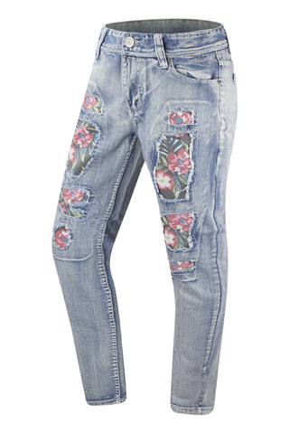 NEW Men Denim Jean Quality High End Flower Print Blue White Floral ALL SIZES