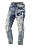 New Men Paint Splattered Jeans Ripped Regular Fit