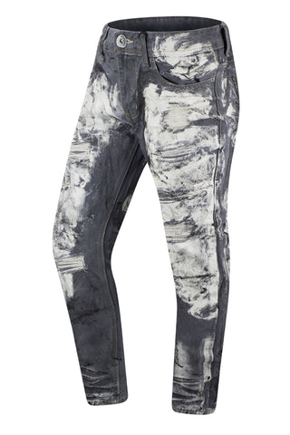 New Men Paint Splattered Denim Jeans Regular Fit