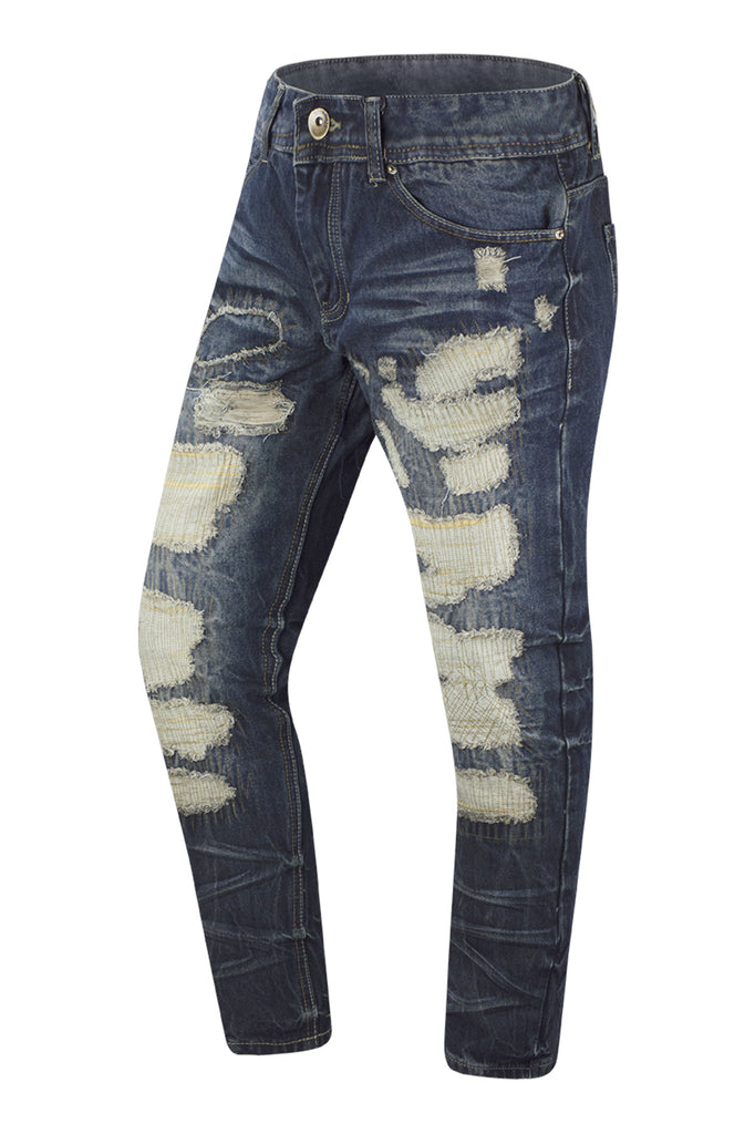 NEW Men Distressed Ripped Denim Vintage Blue Jeans Straight Fit Rips All Sizes