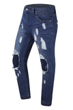 New men Premium Ripped Denim Jeans Distressed Knee Regular Fit
