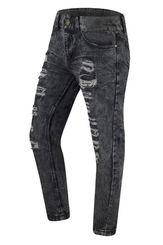 NEW Men Premium Distressed Black Jeans