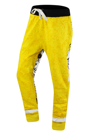 New Men Yellow Joggers Comic Print Back