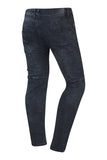 NEW Men Gray Slim Fit Biker Jeans Side Zipper