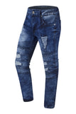 NEW Men Biker Distressed Blue Jeans