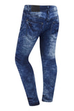 Men Denim Ripped Biker Jeans Blue With Side Zipper