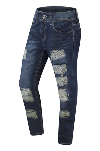 NEW Men Ripped Blue Jeans With Bandana Print