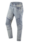 NEW Men Biker Denim Jeans Washed Blue