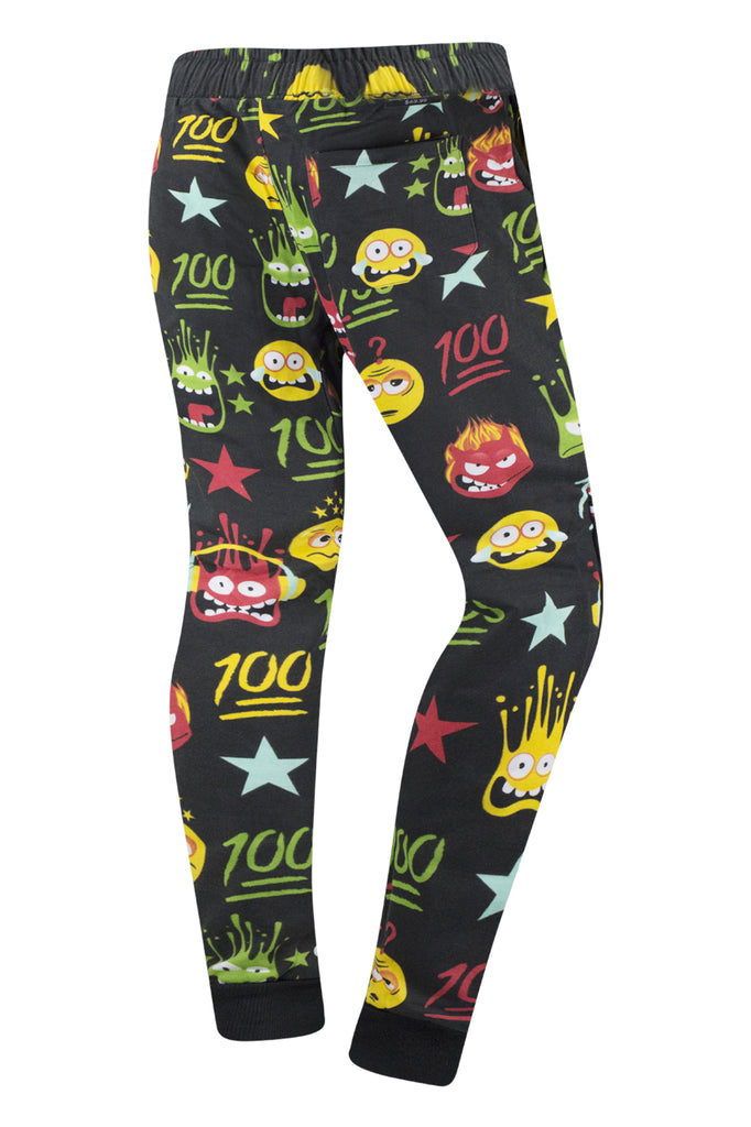 New Men Twill Emoji Jogger Pants Slim Fit