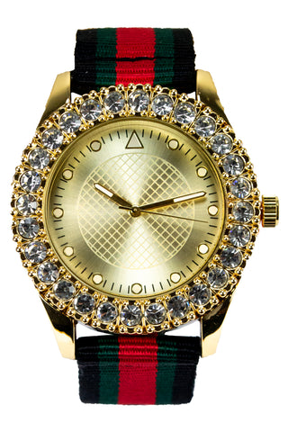 New Gold Face Watch Face Hip Hop Band
