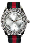 New White Platinum Ice Face Watch Hip Hop Band