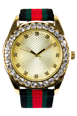 New Gold Ice Face Watch Hip Hop Band