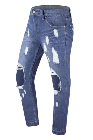 Distressed Denim Light Blue Jeans