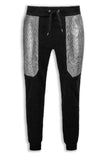 NEW Men Silver Chrome Plated Joggers Quilted M-6X ALL SIZES Drawstrings Fleece