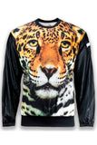 NEW Men Cheetah Tiger Long Sleeve FAUX Leather Pullover Sweater Sizes M-2X